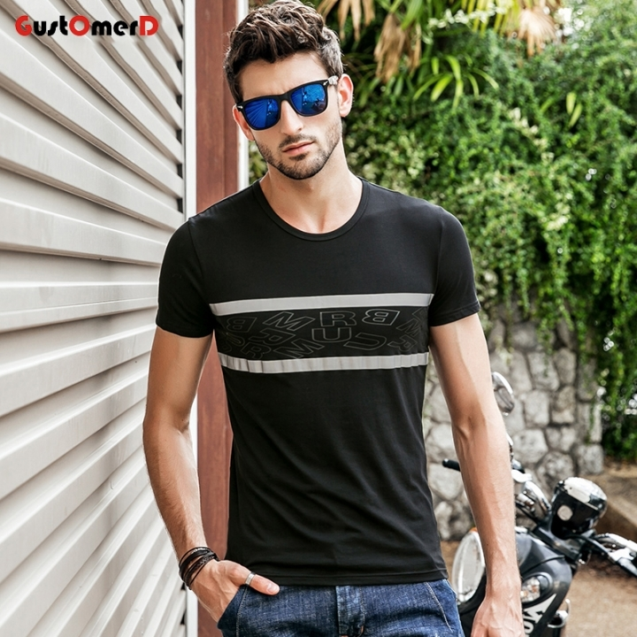 GustOmerD Casual Short Sleeve T-shirt For Men Letter Print Men T shirt Slim Fit O Neck Mens Tee black size m 50 to 58kg cotton
