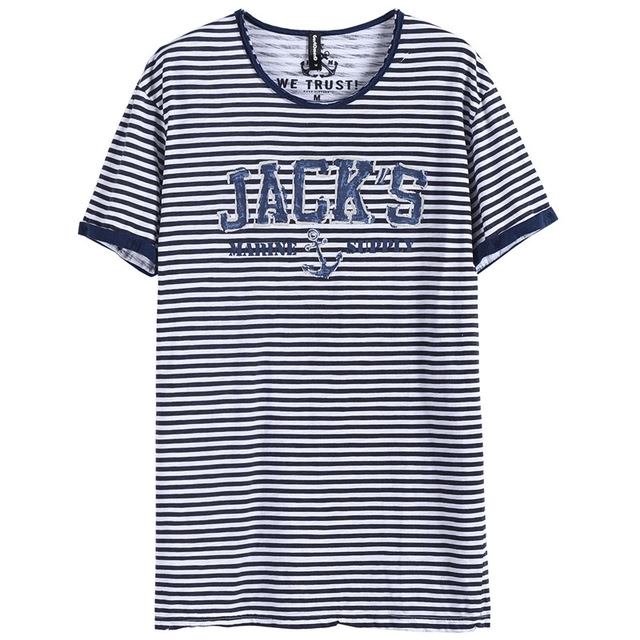 GustOmerD New Printed Men Navy Striped O-neck Slim Fit Tops Tees Male 100% Cotton Casual Tshirt blue size s 50 to 55kg cotton
