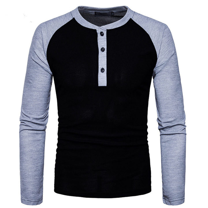 GustOmerD New Fashion Brand Men Long Sleeve T-shirts Patchwork T shirt Men Casual Mens T-shirts black size XXL 80 to 88kg cotton