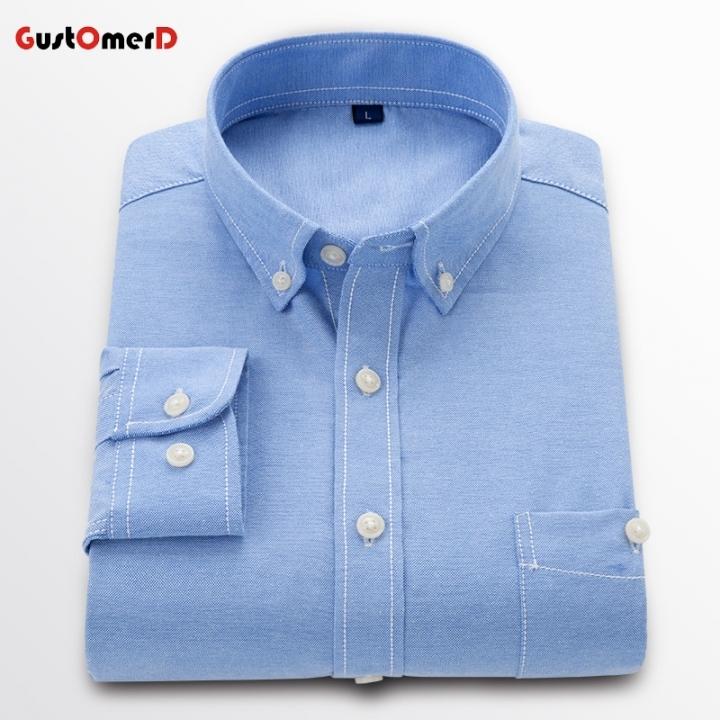 GustOmerD New Men Oxford Shirt Youth Fashion Slim Fit Shirt Brand Clothing Mens Business Shirt Male Lakeblue size 4xl 82 to 90kg