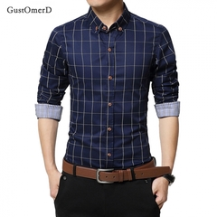 GustOmerD Men Clothes Slim Fit Men Long Sleeve Shirt Men Plaid Cotton Casual Men Shirt Dark blue size m 50 to 58kg