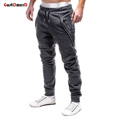 GustOMerD Men's Sweatpants Fashion Men Pencil Pants Drawstring Solid Color Zipper Decoration Pants dark gray xl