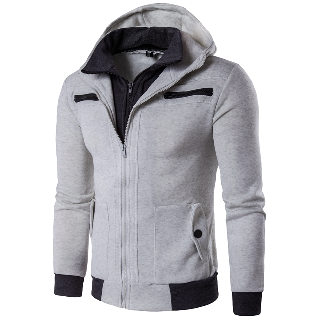 GustOmerD New Men's Fashion Casual Long Sleeved Sweater Sweater Male Personality light grey size l 58 to 65 kg