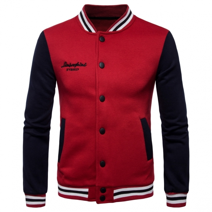 GustOmerD Mens New Collar Sweatshirts Casual Jacket Men Hit Color Baseball Clothing red size s 50 to 58kg