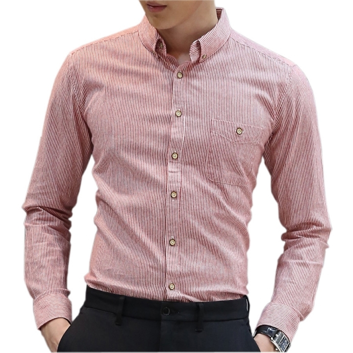 100% Cotton New Fashion Men Stripe Shirts Slim Fit Business Shirt Mens Casual Long Sleeve Shirts Dull-red size xl 65 to 72kg