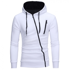 GustOmerD New Style Features Oblique Zipper Men's Leisure Self Cultivation Cardigan Sweater white size xl 65 to 72 kg