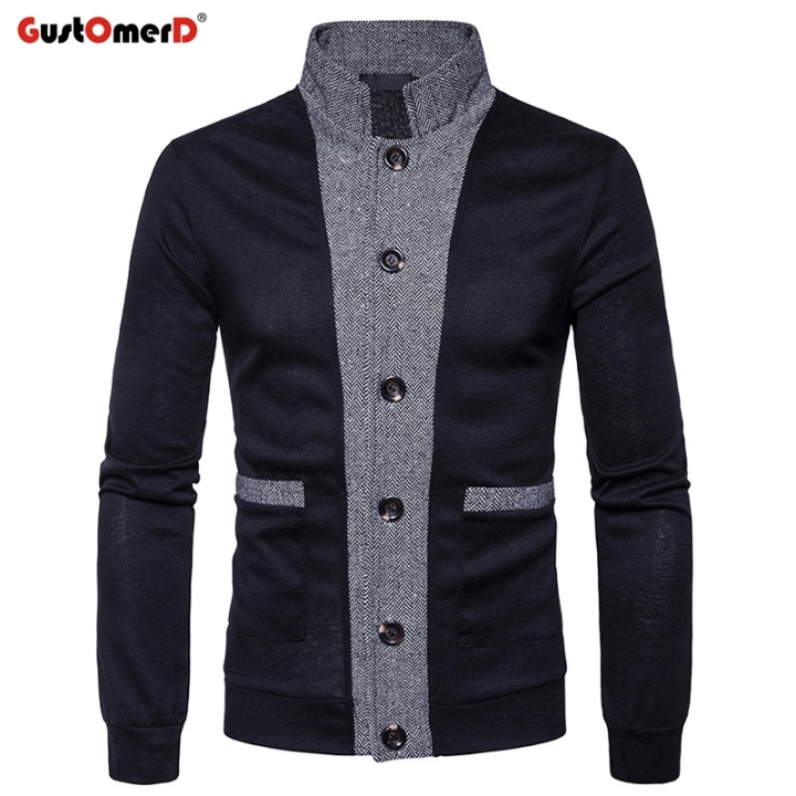 GustOmerD New Pierced Men's Classic Cuff Placket Hit Color  Cardigan Knitwear black size s 50 to 58 kg