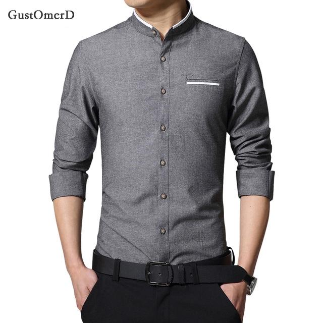 GustOmerD Casual Men Shirt Long Sleeve Mandarin Collar Slim Fit Shirt Men Business Mens Dress Shirts Dark grey size m 50 to 58kg