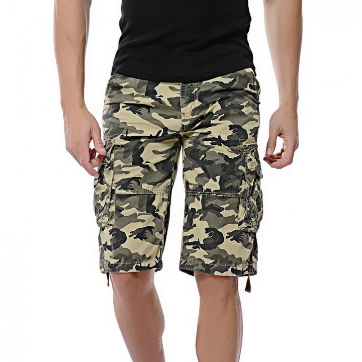 GustOMerD Cotton Casual Men Camouflage Short Pants Clothing Comfortable Camo Man short trousers khaki 30