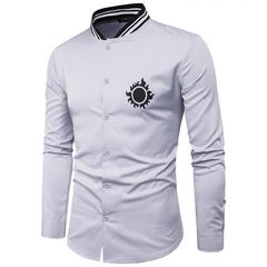 GustOmerD New Personality Tightness Neckline Chest Sun Printing Men's Casual Long Sleeve Shirt grey size M 50 to 58kg