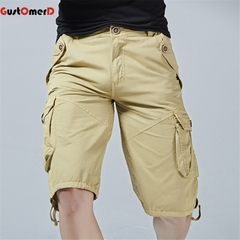 GustOMerD Men Shorts Casual Cargo Shorts Male Army Workout Short Homme Cotton Big Pocket Shorts khaki 30