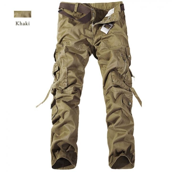 GustOmerD New Fashion Pocket Design Military Style 100% Cotton Overalls Trousers khaki 28
