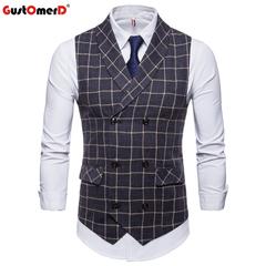 GustOmerD New Mens Vest In Men's Blazer Plaid V-Neck Double Buttons Sleeveless Vests Men Casual Vest dark grey size m 50 to 58kg