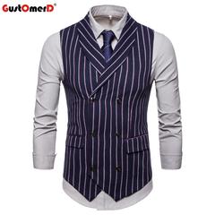 GustOmerD New Style For Male Vest Casual Stripe Double Button Vests Men Formal Mature Men's Vest navy size m 50 to 58kg