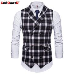 GustOmerD Fashion Male Vest Plaid Double Buttons Vest Men Casual Sleeveless Vests black size m 50 to 58kg