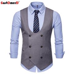 GustOmerD Drop Shipping Vests Men Solid Slim Fit Male Smart Casual Vest grey size m 50 to 58kg