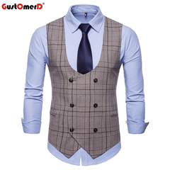 GustOmerD Brand Fashion Men's Vest Casual U-Neck Stripe Plaid Vest Men Formal Vests coffee size m 50 to 58kg