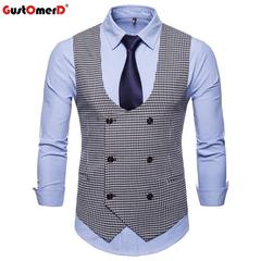 GustOmerD New Formal Male Vest Solid Double Buttons U-Neck Vests Men Casual Houndstooth Men's Vest black size m 50 to 58kg