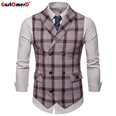 GustOmerD Formal Men's Vest Sleeveless Plaid Casual Vest Men Double Button V-Neck Vests coffee size m 50 to 58kg