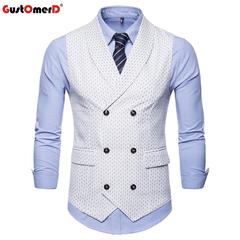 GustOMerD Formal Male Vest Solid Double Buttons U-Neck Vests Men Casual Houndstooth Men's Vest white size m 50 to 58kg