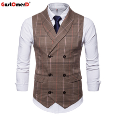 GustOmerD New Style For Male Vest Casual Stripe Double Button Vests Men Formal Mature Men's Vest coffee size m 50 to 58kg