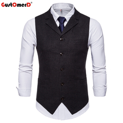 GustOmerD Formal Male Vests Corduroy Slim Fit Single Button Vest Men Casual black size m 50 to 58kg