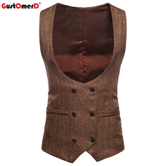 GustOmerD Dropping Male Formal U-Neck Vest Solid Slim Fit Smart Casual Vests Men khaki size s 45 to50kg