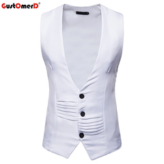 GustOmerD Male Vest  Men's Blazer Solid Slim Fit Sleeveless Vests Men Casual Single Button Mens Vest white size s 45 to50kg
