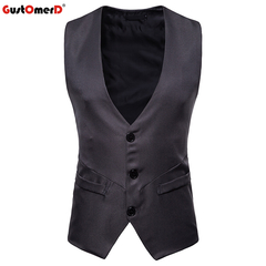 GustOmerD Brand Fashion Formal Male Vest Solid Slim Fit Single Button Vests Men Casual Vest grey size s 45 to50kg