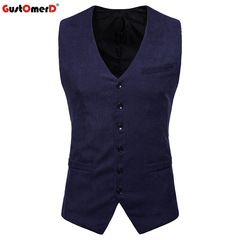 GustOmerD Formal Male Vests Corduroy Solid Slim Fit Single Button Vest Men Casual Vest navy size s 45 to50kg