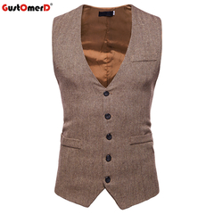 GustOmerD New Male Dress Vest Solid Single Button Formal Vest Men Casual Sleeveless Vests