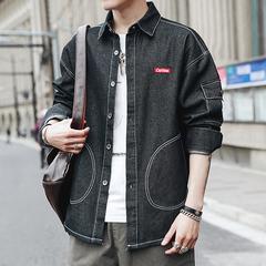 New Pattern Fashion Work Clothes Long Sleeve Cowboy Shirt Male Leisure Joker Loose Coat streetwear black size m 50 to 58kg