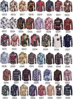 GustOmerD Fashion Shirt Male Shirts Slim Fit Turn-Down Men Long Sleeve Mens Hawaiian Shirt cs39 size m 50 to 58kg