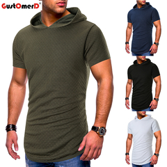 GustOmerD Round Neck Hooded Quality Breathable Men's T-shirt Large Size Loose Comfortable Men's T-sh army green size m 58 to 65kg cotton & polyester