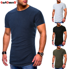 GustOmerD Men's O-neck T-shirts Gyms Tees Tops Plaid Design Tshirts Arc Hem Male Fitness Clothing dark blue size m 58 to 65kg cotton & polyester