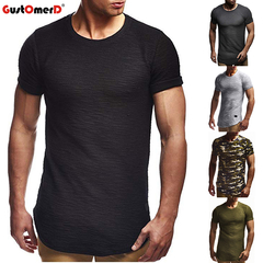 GustOmerD Slim Fit Solid Color Leather Mens Cotton Short Sleeve Men Summer Tee Casual T-shirt black size m 58 to 65kg cotton & polyester