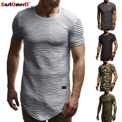 GustOmerD Fashion Wild Folds Solid Color Short Sleeve Tshirt Slim Men's Clothing light grey size m 58 to 65kg cotton & polyester