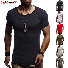 GustOmerD Fashion Casual Slim Elastic Soft Solid Long Sleeve Round Neck Hip Hop Men T-Shirts black size m 58 to 65kg cotton & polyester