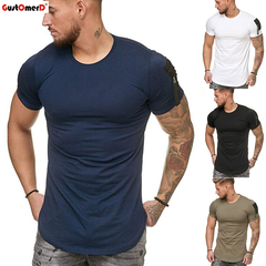 GustOmerD Large Size Men's Casual Sports T-shirt Slim Fit Men Short Sleeve O-neck T-shirt Streetwear navy size m 58 to 65kg cotton & polyester
