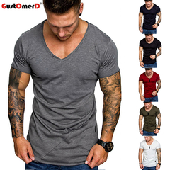 GustOmerD Fashion Men's V-Neck Casual Slim Short Sleeve Top Blouse T-shirt Tees Mens Clothing dark grey size m 58 to 65kg cotton & polyester