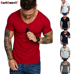 GustOMerD New Summer Casual T-shirts Men's Cotton Short Sleeve V-neck Brand T-shirt Fashion Tops Tee red size m 58 to 65kg cotton & polyester