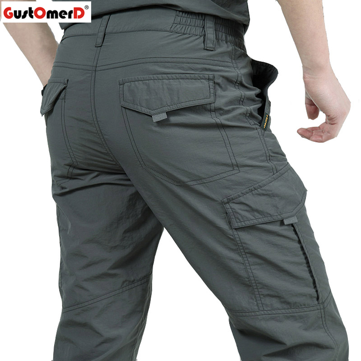 GustOmerD Quick Dry Casual Pants Men Army Military Style Trousers Men's Waterproof Trousers gray xl