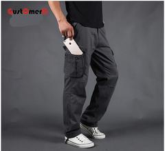 GustOmerD New Cargo Pants Men Multi Pockets Pants Track Pants Trousers Mens Elastic Waist Pants gray 29
