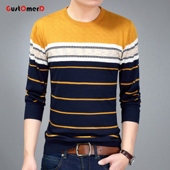 GustOmerD New Mens Sweater O-Neck Casual Pullovers Slim Fit Striped Knitted Sweater Clothes light yellow size s 50 to 58 kg