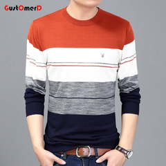 GustOmerD New Arrival Sleeve Knitted T-Shirt Men Cotton Pullover Men Casual O-Neck Striped Sweater orange size s 50 to 58 kg
