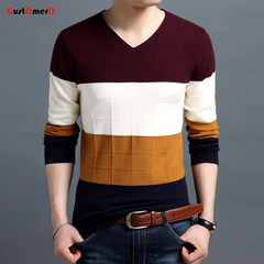 GustOmerD Warm Sweaters Casual Hit Color Patchwork V-neck Pullover Men Brand Slim Fit Cotton Sweater khaki 165/85A