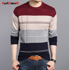 GustOmerD Men's Sweater Cashmare Fashion Patchwork Soft Warm Clothing Male Casual O-neck Pullover wine red 165/85A