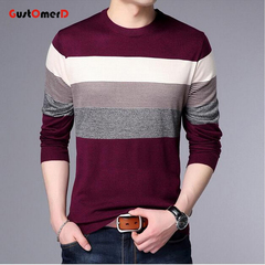 GustOmerD Sweater Men Geometric Printing Pullovers Mens Sweaters Print Shirt Wool Pullover wine red 165/85a