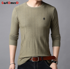 GustOmerD New Fashion Sweaters Men Pullover O-Neck Slim Fit High Quality Casual Men Clothes light green 165/85a