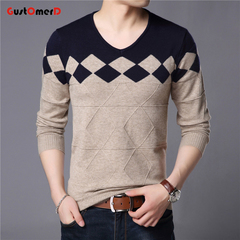 GustOmerD New Sweaters Men Fashion Style Geometric Knitted Quality Pullover Men Casual Men Sweater navy 165/85a